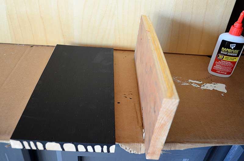 scrap lumber glued for chalkboard bulletin board
