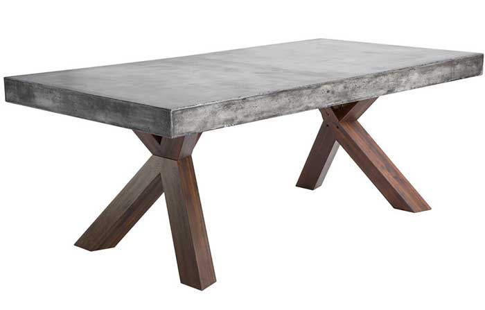 dining room table with concrete top