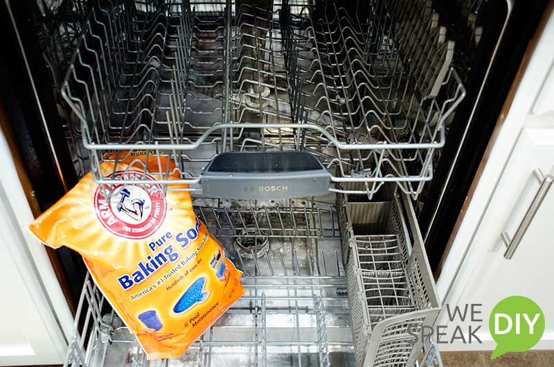 Washing dishwasher with baking