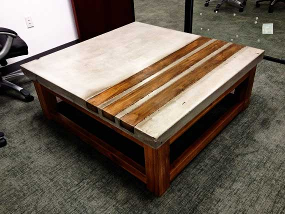 wood and concrete coffee table