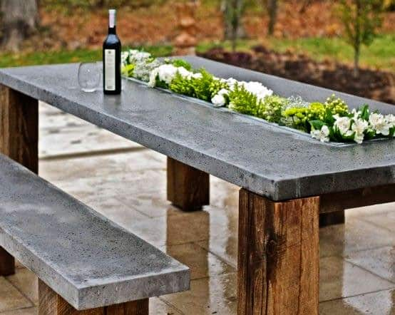 Concrete Outdoor Table with Drink Trough
